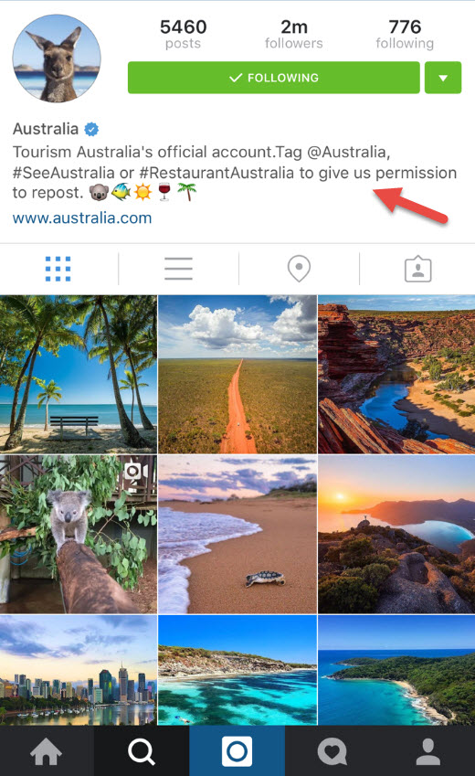 Tourism Australia Instagram channel bio